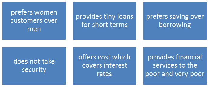 Key features of microfinance